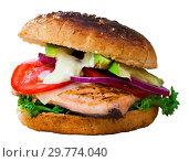 Купить «Hamburger made with trout fillet», фото № 29774040, снято 26 марта 2019 г. (c) Яков Филимонов / Фотобанк Лори