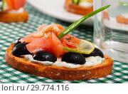 Купить «Toast with salmon, olives and creamy sauce on checkered textile», фото № 29774116, снято 25 марта 2019 г. (c) Яков Филимонов / Фотобанк Лори