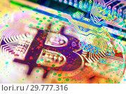 Купить «Economy trends virtual digital currency abstract background», фото № 29777316, снято 22 января 2019 г. (c) bashta / Фотобанк Лори