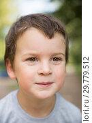 Купить «Smiling boy close-up portrait», фото № 29779512, снято 28 августа 2018 г. (c) Юлия Бабкина / Фотобанк Лори