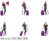 Купить «Young beautiful woman with suitcase and umbrella isolated on whi», фото № 29786768, снято 19 февраля 2019 г. (c) Elnur / Фотобанк Лори