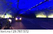Купить «Лердальский тоннель (Laerdal Tunnel) - самый длинный тоннель в мире. Искусственная пещера с синим освещением. Норвегия», видеоролик № 29787572, снято 19 января 2019 г. (c) Кекяляйнен Андрей / Фотобанк Лори