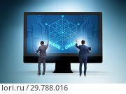 Купить «Young businessman in innovative blockchain concept», фото № 29788016, снято 23 августа 2019 г. (c) Elnur / Фотобанк Лори