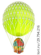 Купить «Hot Air Balloon with Easter egg. 3d render», фото № 29794216, снято 17 сентября 2019 г. (c) Guru3d / Фотобанк Лори