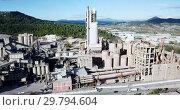 Купить «View from drone of cement plant industrial area, Catalonia, Spain», видеоролик № 29794604, снято 21 ноября 2018 г. (c) Яков Филимонов / Фотобанк Лори