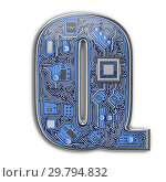 Купить «Letter Q. Alphabet in circuit board style. Digital hi-tech letter isolated on white.», фото № 29794832, снято 8 декабря 2019 г. (c) Maksym Yemelyanov / Фотобанк Лори