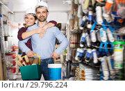 Купить «Adult female with man in helmet with instruments», фото № 29796224, снято 16 февраля 2018 г. (c) Яков Филимонов / Фотобанк Лори