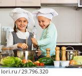 Купить «Two small happy girls cooking vegetable soup», фото № 29796320, снято 23 февраля 2019 г. (c) Яков Филимонов / Фотобанк Лори