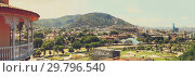 Купить «Panoramic view of Tbilisi city , old town and modern architecture. Tbilisi the capital of Georgia», фото № 29796540, снято 23 мая 2019 г. (c) Mikhail Starodubov / Фотобанк Лори