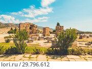 Купить «Ancient Greco Roman city. Ruins of ancient city, Hierapolis in Pamukkale, Turkey. Ruined ancient place», фото № 29796612, снято 12 сентября 2018 г. (c) Сергей Тимофеев / Фотобанк Лори