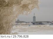 Купить «Ледяные торосы и вид на город Архангельск», фото № 29796828, снято 5 декабря 2018 г. (c) Яковлев Сергей / Фотобанк Лори