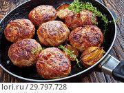 Купить «fried turkey, chicken burgers in a pan», фото № 29797728, снято 23 января 2019 г. (c) Oksana Zh / Фотобанк Лори