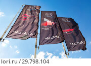 Купить «Mazda dealership flags over blue sky», фото № 29798104, снято 19 мая 2018 г. (c) FotograFF / Фотобанк Лори
