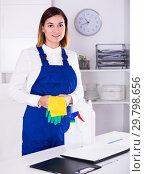 Купить «Female cleaner at work», фото № 29798656, снято 26 апреля 2019 г. (c) Яков Филимонов / Фотобанк Лори