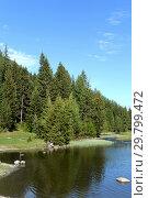 Купить «Речка Мёнка у села Акташ в Улаганском районе Республики Алтай», фото № 29799472, снято 8 июня 2018 г. (c) Free Wind / Фотобанк Лори
