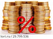 Купить «Красный знак процента на фоне денег», иллюстрация № 29799536 (c) Сергеев Валерий / Фотобанк Лори
