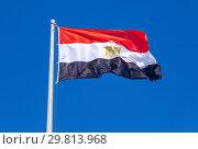Купить «Flag of Egypt fluttering in the wind against the sky», фото № 29813968, снято 17 июня 2018 г. (c) FotograFF / Фотобанк Лори