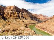 Купить «view of grand canyon cliffs and colorado river», фото № 29820556, снято 1 марта 2018 г. (c) Syda Productions / Фотобанк Лори
