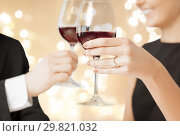 Купить «close up of engaged couple drinking red wine», фото № 29821032, снято 3 апреля 2013 г. (c) Syda Productions / Фотобанк Лори