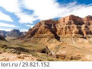 Купить «view of grand canyon cliffs and desert», фото № 29821152, снято 1 марта 2018 г. (c) Syda Productions / Фотобанк Лори