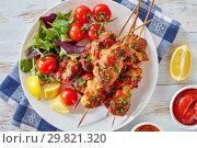 Купить «chicken kebabs chargrilled on skewers, close up», фото № 29821320, снято 24 января 2019 г. (c) Oksana Zh / Фотобанк Лори