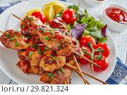 Купить «chicken kebab grilled on skewers, top view», фото № 29821324, снято 24 января 2019 г. (c) Oksana Zh / Фотобанк Лори