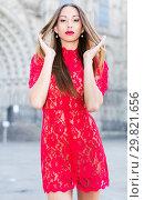 Купить «close-up portrait of young slim adult girl in sexy evening apparel», фото № 29821656, снято 24 июня 2017 г. (c) Яков Филимонов / Фотобанк Лори