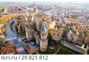 Aerial view of castle Palacio Real de Olite. Navarre. Spain (2018 год). Стоковое фото, фотограф Яков Филимонов / Фотобанк Лори