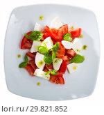 Купить «Light salad with young cheese», фото № 29821852, снято 12 июля 2020 г. (c) Яков Филимонов / Фотобанк Лори