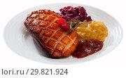 Купить «Magre duck breast with pickled cabbage, caramelized onions and jam. Isolated over white background», фото № 29821924, снято 20 марта 2019 г. (c) Яков Филимонов / Фотобанк Лори
