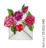 Envelope with Burgundy roses and a heart. Стоковая иллюстрация, иллюстратор Марина Сапрунова / Фотобанк Лори