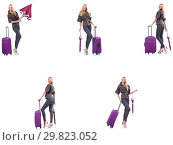 Купить «Young beautiful woman with suitcase and umbrella isolated on whi», фото № 29823052, снято 19 февраля 2019 г. (c) Elnur / Фотобанк Лори