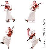 Купить «Arab man playing cello isolated on white», фото № 29823580, снято 8 июля 2020 г. (c) Elnur / Фотобанк Лори