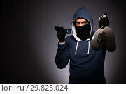 Купить «Young gangster in hood on grey background», фото № 29825024, снято 27 сентября 2018 г. (c) Elnur / Фотобанк Лори