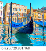 Купить «Gondola on The Grand Canal in Venice», фото № 29831168, снято 15 июня 2018 г. (c) Роман Сигаев / Фотобанк Лори
