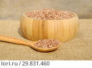 Купить «Узбекский красный рис для плова - девзира крупным планом на мешковине», фото № 29831460, снято 30 августа 2018 г. (c) Елена Коромыслова / Фотобанк Лори