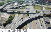 Купить «Aerial view of highway grade separation in Barcelona, Spain», видеоролик № 29848728, снято 12 июня 2018 г. (c) Яков Филимонов / Фотобанк Лори