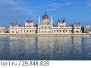 Купить «Здание венгерского парламента на берегу Дуная в Будапеште», фото № 29848828, снято 5 октября 2015 г. (c) Михаил Марковский / Фотобанк Лори