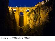 Puente Nuevo in night. Ronda (2014 год). Стоковое фото, фотограф Яков Филимонов / Фотобанк Лори