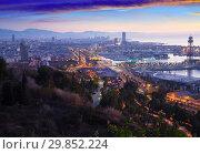 Купить «Barcelona in dawn time. Catalonia, Spain», фото № 29852224, снято 23 марта 2019 г. (c) Яков Филимонов / Фотобанк Лори