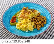 Купить «Cabbage in batter with spicy rice, chickpeas and sauces», фото № 29852248, снято 23 июля 2019 г. (c) Яков Филимонов / Фотобанк Лори