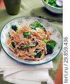 Купить «Traditional calabrian recipe, liquorice tagliolini pasta with turnip greens and ricotta fresh cheese, Calabria, Italy, Europe», фото № 29859436, снято 15 июля 2020 г. (c) age Fotostock / Фотобанк Лори