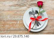 Купить «red rose flower on set of dishes», фото № 29875140, снято 9 февраля 2018 г. (c) Syda Productions / Фотобанк Лори