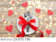Купить «close up of table setting for valentines day», фото № 29875196, снято 9 февраля 2018 г. (c) Syda Productions / Фотобанк Лори