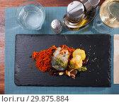 Купить «Scomber fish roll with bacon», фото № 29875884, снято 25 января 2020 г. (c) Яков Филимонов / Фотобанк Лори