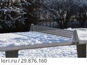 Искрящийся на солнце белый снег лежит на теннисном столе в парке (2019 год). Стоковое фото, фотограф Наталья Николаева / Фотобанк Лори
