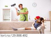 Купить «Husband helping leg injured wife in housework», фото № 29888492, снято 4 октября 2018 г. (c) Elnur / Фотобанк Лори
