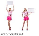 Blonde girl in pink with poster isolated on white. Стоковое фото, фотограф Elnur / Фотобанк Лори