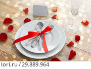 Купить «close up of table setting for valentines day», фото № 29889964, снято 9 февраля 2018 г. (c) Syda Productions / Фотобанк Лори