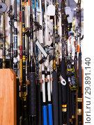Купить «Picture of fine fishing rods for fishing», фото № 29891140, снято 16 января 2018 г. (c) Яков Филимонов / Фотобанк Лори
